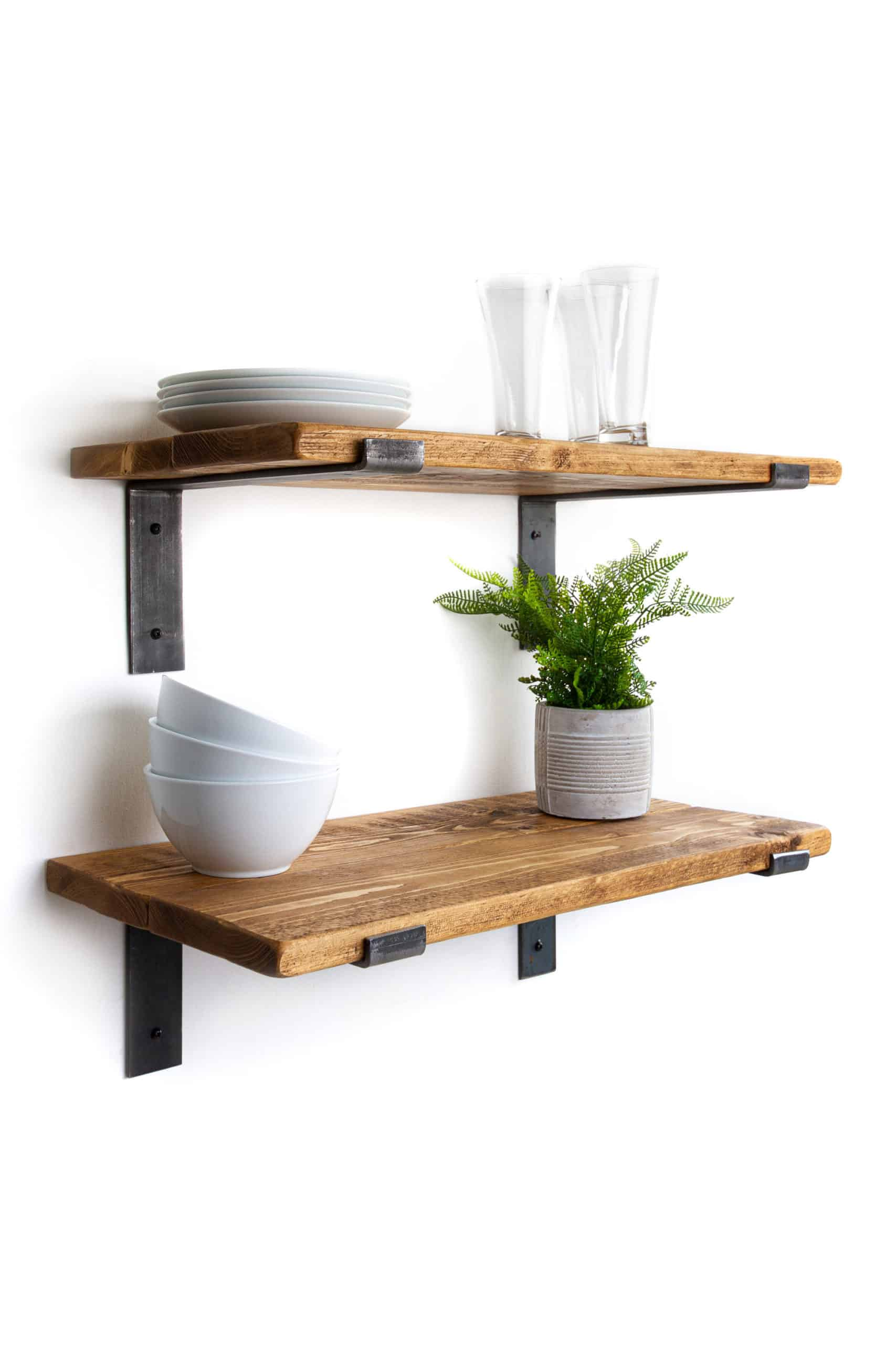 Rustic Shelves 200cm deep, 20.20cm thick handcrafted using solid wood, with  industrial metal brackets   Kitchen Shelves